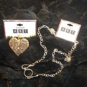 Wearable art heart pendant and chain